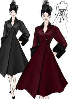 Velvet Swing Coat by Amber Middaugh Vintage Dress Patterns, Clothing Patterns, Vintage Dresses, Vintage Outfits, Lace Patterns, Fashion Moda, 1940s Fashion, Vintage Fashion, Womens Fashion