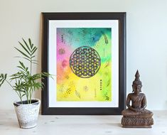 Original Painting on paper Original Artwork, Original Paintings, Flower Of Life, Boho, Sacred Geometry, Colorful Flowers, Tapestry, Hand Painted, Etsy