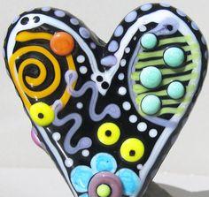 Grafitti HeartHandmade Lampwork Glass Bead by BeadygirlBeads, $45.00