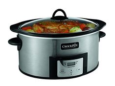 Crock-Pot , 6-Quart, Countdown Programmable Oval Slow Cooker with Stove-Top Browning, Stainless Finish SCCPVI600-S – KITCHEN APPLIANCES