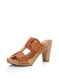 Delman Womens Devon Wood Sandal (Cuoio Vachetta)
