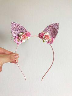Rosa orejas diadema venda bosque diadema de orejas niño