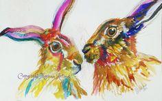 MORENA ARTINA Original contemporary PAINTING Large 14 x 11 Mr and Mrs Hare Hares
