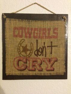 "Handmade Burlap Wood Sign.""Cowgirls Don't Cry"" Horseshoe, Star, Country Art Pink"