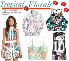 Tropical florals take a spin this year! Instead of opting for tiny rosettes, shop for pieces with palm leaves and exotic flower prints from the tropics :) #dancefashion #streetfashion #summerfashion   Shop the look @ www.flygyal.com