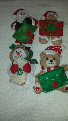 Set of 4 Hand Beaded and Embroidered Felt Christmas Ornaments by yourgalfridayfl on Etsy