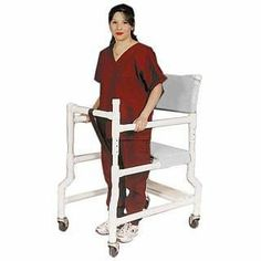 """Ambulatory Walker 4"""" Casters WHITE - 4"""" CASTERS - SOLID VINYL by Mjm International Corp. $219.00. Heavy-duty casters provide added weight, for better balance.. Height adjustable from 32½"""" to 35½"""".. Unique frictionless locking security gate system.. Allows residents to ambulate safely.. Seat Height: 21"""".. Bridges the gap between wheelchair and walker - aids in walking and provides a seat for rest."""