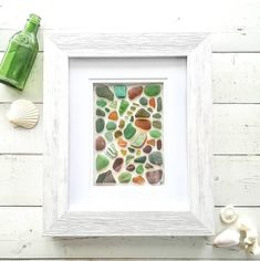 Sea Treasure Frame || Genuine Sea Glass || Genuine Sea Pottery || Sea Glass Art || Forest Collection || NOT A PRINT || Original Artwork by RedIslandSeaGlass on Etsy Broken Glass Crafts, Sea Glass Crafts, Sea Glass Art, Lake Art, Zen Art, Pebble Art, Pottery Art, Original Artwork, Photos