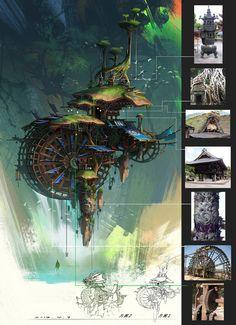 Original pinner is Noelle Anne - But the unsure of the artist. Lovely use of colours :D Bg Design, Prop Design, Environment Concept Art, Environment Design, Fantasy World, Fantasy Art, Matte Painting, Visual Development, Fantasy Landscape