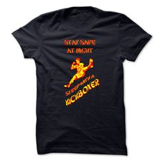 Sleep With A Kickboxer - Stay Safe At Night with this Fabulous KickBoxer Tee Shirt (Sports Tshirts)
