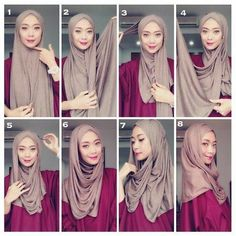 My Sweet Escape: Simple Style Hijab Tutorial Turkish Hijab Tutorial, Simple Hijab Tutorial, Pashmina Hijab Tutorial, Hijab Style Tutorial, Stylish Hijab, Hijab Chic, Beau Hijab, Hijabi Gowns, Hijab Simple