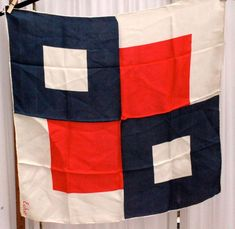 ECHO Nautical Vintage  Red White Blue Silk hand rolled scarf #Echo