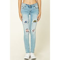 Forever 21 Women's  Distressed Patch Skinny Jeans ($38) via Polyvore featuring jeans, white skinny leg jeans, denim skinny jeans, forever 21 skinny jeans, skinny fit denim jeans and white super skinny jeans