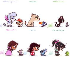 Mickey and Company — Disney heroines chibies,  by princekido (Facebook...