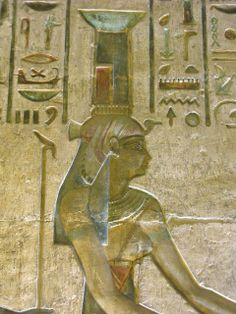 Wall painting in one of the chapels in the temple of Hathor