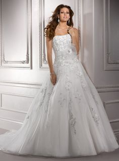 Maggie Sottero Spring 2012 - Ivory & Silver Embellished Lace on Organza Strapless Drop Waist Gretchen Wedding Gown - 0 - 28