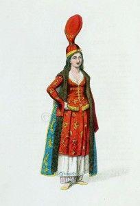 Ottoman Empire Harem costume, Odalisk. Traditional Turkish woman clothing