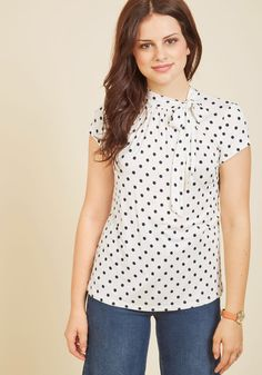 Advert Yourself Top in Dotted White, #ModCloth