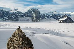 Photo by (Aaron Huey). Two climbers pause above the before descending into the great in Alaska. Watch for our feature about Denali in the February issue due out tomorrow! More photos of the and this epic park at by natgeo Gopro, Alaska Travel, Amazing Destinations, Land Scape, National Geographic, The Great Outdoors, Places To See, Travel Inspiration, Beautiful Places