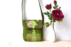 Items similar to Green Crossbody Bag/ Small Crossbody Bag/ Floral Crossbody Bag/ Flower Applique/ Vegan Bag/ Green Crossbody Purse/ Green Small Bag/ Pink on Etsy Small Crossbody Bag, Slovenia, Small Bags, Reusable Tote Bags, Gift Ideas, Trending Outfits, Unique Jewelry, Handmade Gifts, Floral