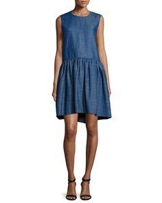 Co Sleeveless Denim Peplum Dress, Indigo