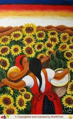 Classical Masterpiece Sunflowers 'chismosas' By Diego Rivera Metal Art Print by Ja(c)anpaul Ferro - LARGE Mexican Artwork, Mexican Paintings, Mexican Folk Art, Diego Rivera Art, Diego Rivera Frida Kahlo, Frida E Diego, Hispanic Art, Latino Art, Spanish Art