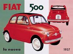 Vintage advertising illustration: Fiat 500, 1957
