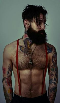 Not gonna lie. this man is so beautiful and sex Ricki Hall: beard, tattoos, suspenders Hipsters, Top Tattoos, Tattoos For Guys, Sexy Tattoos, Gypsy Tattoos, Indie Tattoo, Hair Tattoos, Bart Tattoo, Tattoo Art