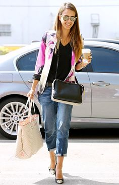 Jessica Alba looked effortlessly cool in cuffed jeans, a colorful blazer, and heels as she made a coffee run in Santa Monica.
