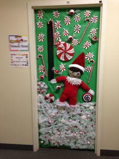 Elf on the shelf door decorating contest at work christmas for Works elf door