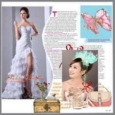 """White Column Sweetheart Beading Wedding Dress Brush Train Chiffon"" by weddingdressesforyou ❤ liked on Polyvore"