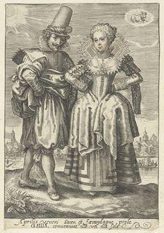 April - Een paar uit Frankrijk, Crispijn van de Passe (II), ca. 1620 - ca. 1625
