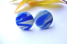 Blue And White Polymer Clay Stud Earrings Sky by bloomyjewelry, $5.00