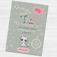 Birthday Invitation with name & thank you card/ by babyartshop Birthday Invitations, Thank You Cards, Clip Art, Digital, Prints, Handmade, Appreciation Cards, Hand Made, Wedding Thank You Cards