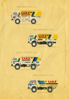 This is an overview of the first trucks from the former Czechoslovakia which started at the Paris-Alger-Dakar Rally between 1985 and Rally Raid, Truck Design, Graphic Design Illustration, Cars And Motorcycles, Jin, Classic Cars, Trucks, Vintage Labels, Car Stickers