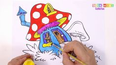 How to Draw Mushroom House Coloring Book for Kids| Learning Colouring Pages - YouTube