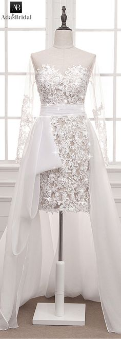 Stunning Tulle & Organza Satin Sheer Jewel Neckline Hi-lo Sheath Wedding Dress With Lace Appliques