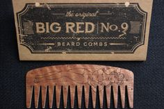 Headed out to work or just lounging in front of the tube for a little while.  It works perfectly for long and coarse beards as a detangler with it's wide and ultra smooth teeth. Helps with distributing a beard product through the hair as well. Daily combing of the hair is proven to make the beard healthy and look great. #beard #beardcomb #comb #bigred #pinup #hair Pomade.com