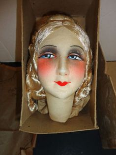French boudoir doll head in original box