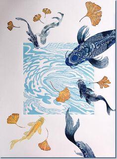 printmaking for kids elementary art April Wilson - Koi Printmaking Kunst Inspo, Art Inspo, Art And Illustration, Linocut Prints, Art Prints, Block Prints, Art Japonais, Poster Design, Fish Art