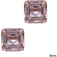 Gioelli 14k Rose Gold Asscher-cut Simulated Morganite Stud Earrings ($108) ❤ liked on Polyvore featuring jewelry, earrings, champagne, butterfly stud earrings, fake earrings, rose earrings, rose stud earrings and asscher cut earrings