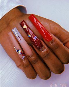 Long Acrylic Nails, Long Nails, Long Nail Designs, Nail Art Designs, Nail Tek, Valentine Nail Art, Finger Nail Art, Spa Day, Girly