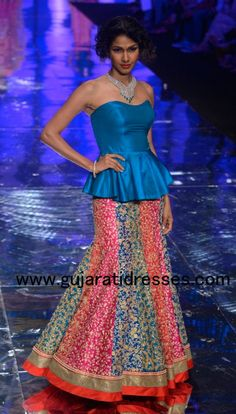 Jyotsana Tiwari Bridal Blue and Pink Lehenga Choli - Gujarati Dresses