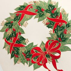 Engraved Holiday Wreath Greeting Card: When hung on one's front door, a wreath fragrant with greenery and good cheer is an indicator of all the warm and cozy yuletide trimmings inside. Quite the same may be said about this holiday greeting card.