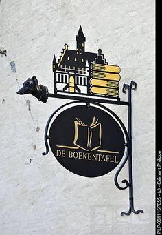倫☜♥☞倫 Signboard of bookshop, Damme, Belgium **....♡♥♡♥♡♥Love★it