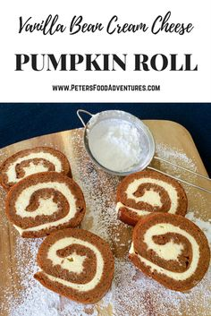 The perfect holiday treat for Thanksgiving or Christmas! It's like a Roulade or Swiss Roll made with pumpkin pie spice and vanilla bean cream cheese. Pumpkin Roll with Vanilla Bean Cream Cheese