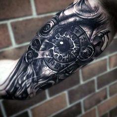 Mechanical Eye Mens Awesome Bicep Tattoo Designs