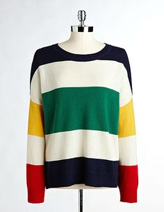 hbc stripes HUDSON'S BAY COMPANY COLLECTION Oversized Sweater