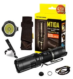 TOMIN NITECORE MT10A High Powered Outdoor Highlight Flashlight - 920 Lumens CREE XM-L2 U2 LED Handheld Flashlight - Super Bright Water Resistant Torch for Gear, Outdoor/Camping, Search ** See this great product.