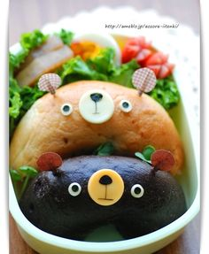bear doughnuts bento kawaii japanese food love it